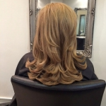 Salon Image Client Mid Length Blonde Wavy Hair